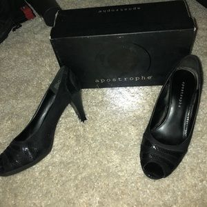 Black heels with black alligator skin heels